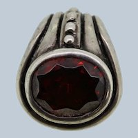Sterling Silver Oval Red Stone Slider Pendant