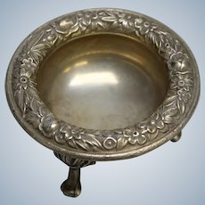S Kirk & Son 58 Sterling Silver Repousse Footed Salt Dish