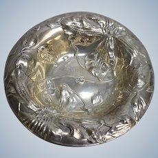 "Antique Alvin 1106 Sterling Silver Floral Bowl Dish - 6.5"" Monogrammed"