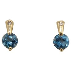 Sweet 14k Yellow Gold Blue Topaz and Diamond Stud Earrings