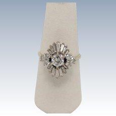 Vintage 18k White Gold Round/Baguette Diamond Cluster Ring - Size 7.25
