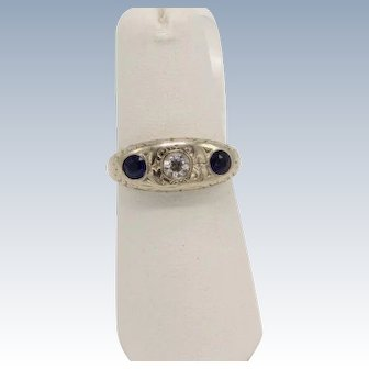 Vintage RK 14k White Gold Diamond and Sapphire Ring - Size 6