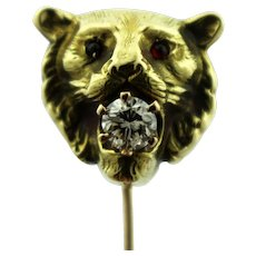 Antique Victorian 14K Yellow Gold Lion Head w/.02c Diamond Stick 10K Pin