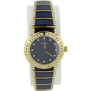 Eterna Galaxis Women's Watch in 18K Yellow Gold with Blue Sapphire Inlay and Diamonds