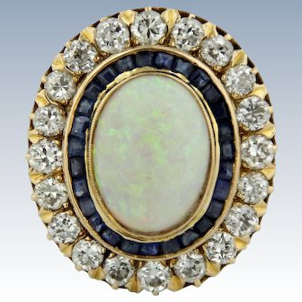 Stunning Large 14k Yellow Gold Opal, Sapphire, and Diamond Cocktail Ring - SZ 8