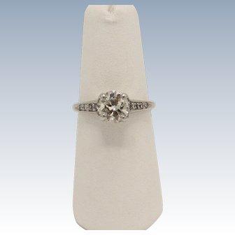 Antique Platinum Round 1.3ct Diamond Engagement Ring with Appraisal - Size 6
