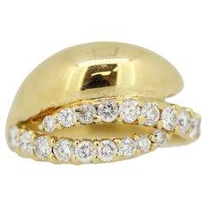 18k Yellow Gold 18-Round Diamond Bypass Ring - .55ct. - Size 6.75