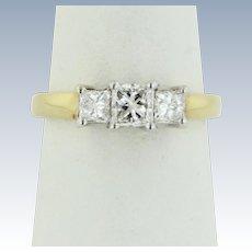 Beautiful 18kt Two-Tone Gold 3-Stone Princess Cut Diamond Ring - Size 6.5