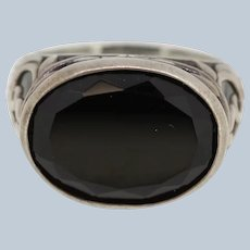 Sterling Silver Filigree Design Oval Black Onyx Ring - Size 10.25