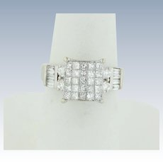Sweet 14kt White Gold Round/Princess/Baguette Diamond Cluster ring - Size 5.5