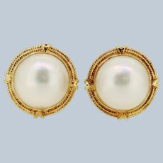 Large 14k Yellow Gold Mabe Pearl Stud Earrings