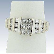 Sweet 14kt White Gold Channel Set Round/Princess Cut Diamond Ring - Size 6.5