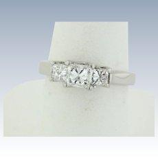 Beautiful Platinum 3-Stone Princess Cut Diamond Ring - Size 6