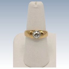 Vintage 14K Yellow Gold Solitaire .6ct Round Diamond Ring - Size 6.75