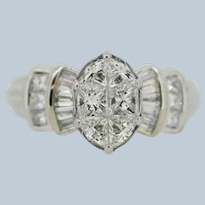 14K White Gold Princess/Baguette/Trillion Diamond Cluster Engagement Ring - 5.25