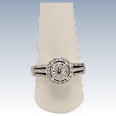Beautiful 14k White Gold Diamond Cluster Halo Engagement Ring - Size 9.5
