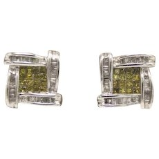 Sweet 14k White Gold Yellow & Clear Diamond Cluster Stud Earrings