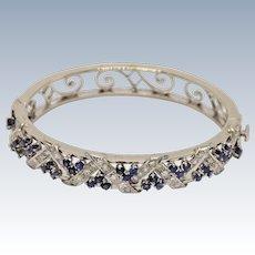 "Stunning 14k White Gold Diamond and Sapphire Criss-Cross Bangle Bracelet - 7"""