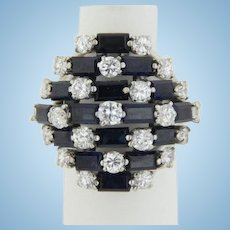 Bold 14kt White Gold 16-Baguette Sapphire 23 Round Diamond Cluster Ring - Size 6