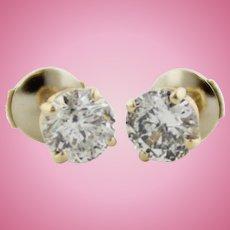 Beautiful 14K Yellow Gold & 1.5ctw Round I3, H Diamond Stud Earrings
