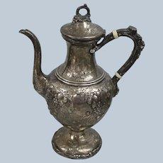William Kendrick Large Sterling Grape Vine Teapot - Monogrammed