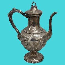 William Kendrick Large Sterling Grape Vine Teapot - Monogrammed - 3.5 pints