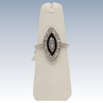 Antique 14k White Gold Diamond and Sapphire Marquise Ring - Size 5.75