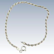 "Sweet Sterling Silver 7 1/4"" Rope Bracelet"