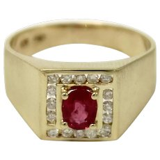 Vintage Men's 14K Yellow Gold Oval Red Ruby & Diamond (.22ctw) Ring-Size 8.5