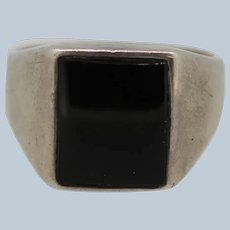 Sterling Silver Square Onyx Men's Ring - Size 12
