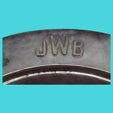 Dirk Van Erp Hammered Silver Plate Round Tray - JWB Monogram