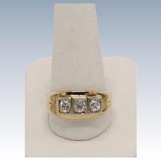 Vintage 14K Men's 3-Round Mine Cut Diamond Ring  - Size 11