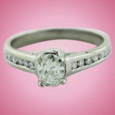 Platinum & Oval Solitiare Diamond w/Accents (.86ctw) Engagement Ring-Size 5.25
