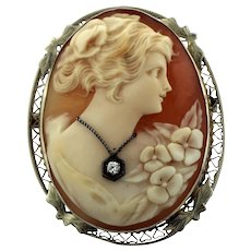 Antique 14K Yellow Gold & Shell Cameo with Diamond (.03c) Necklace Combination Pin/Pendant