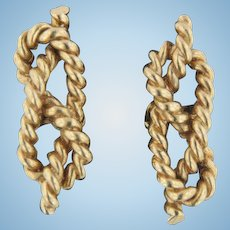 """Men's 14K Yellow Gold Nautical Knotted Rope 1"""" CuffLinks"""