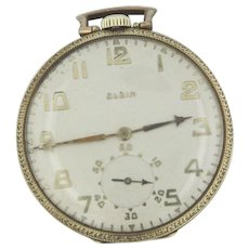 1923 Elgin 19 Jewel 14s Open Face 14KT Pocket Watch 4 grade 451