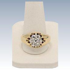 Vintage 14K Yellow Gold Round Diamond Cluster Flower- Size 12.5