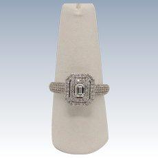 Beautiful 14k White Gold Round/Emerald Cut Diamond Cluster Engagement Ring -Sz 8