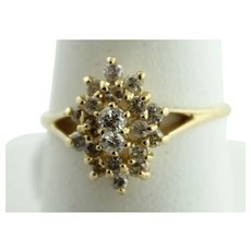 Sweet 14K Yellow Gold Oval Halo Cluster Diamond (.66ctw) Ring in Size 6.25 - TGC Hallmark