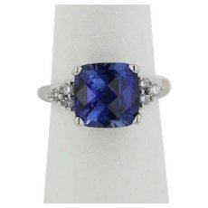THL 10K White Gold Diamond and Synthetic Tanzanite Ring - Size 6.25