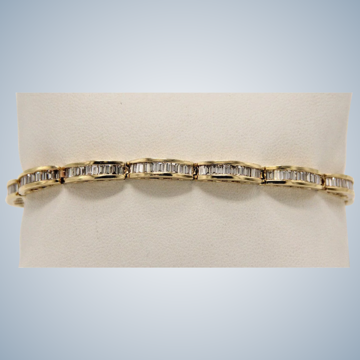 Beautiful 14k Yellow Gold 3 7ct Baguette Diamond Tennis Bracelet 7