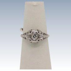 Vintage 18kt White Gold Flower & 3-Diamond Engagement Ring - size 6.5