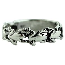 Whimsical & Fun Sterling Silver Ring with a Row of Frogs - Size 5.5