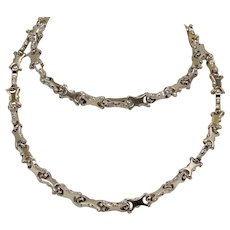 "Unique 14k Two-Tone Yellow/White Gold X-Link Open-Work Necklace 26"" - Italy"