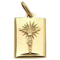 18k Yellow Gold Rectangle Pendant with Crucifix