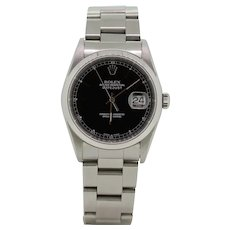 2004 Rolex Datejust 16200 Stainless Steel Black Dial Men's Wristwatch