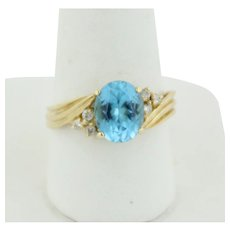 Sweet 10k Yellow Gold Oval Blue Topaz and Diamond Cocktail Ring - Size 8.75