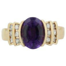 Sweet 14kt Yellow Gold Amethyst and Diamond Ring - Size 6
