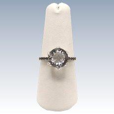 Sweet 14kt White Gold Light Blue Checkered Stone & Black Diamond Ring - Size 7