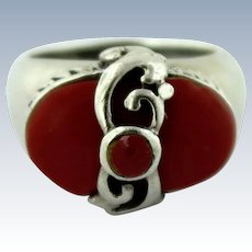 Big/Bold Signed Sterling Silver & Red Oval Coral Ring - Size 7.75